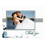 Aguamarina elegante + el casarse negro de las flor postales