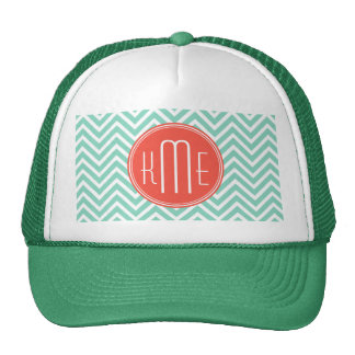 Aguamarina elegante monograma verde del gorras de camionero