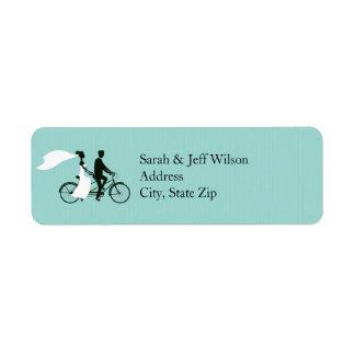 Aguamarina en tándem de la bicicleta que casa etiq etiquetas de remite