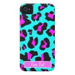 Aguamarina/estampado leopardo rosado - personalice Case-Mate iPhone 4 protectores
