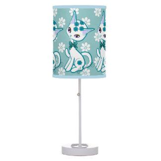Aguamarina femenina linda del gato del gatito azul lámpara de mesilla de noche