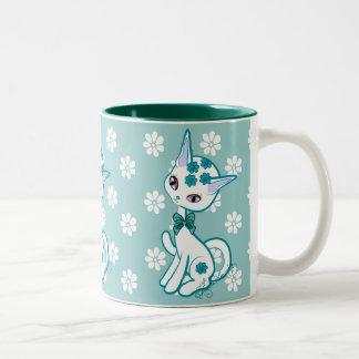 Aguamarina femenina linda del gato del gatito azul tazas de café