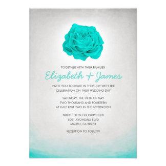 Aguamarina floral de moda que casa invitaciones invitación
