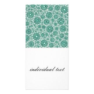 aguamarina floral trippy (c) tarjeta fotográfica personalizada