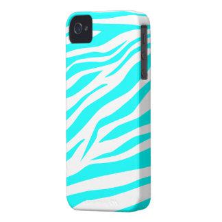 Aguamarina fresca estampado de zebra blanco - caso iPhone 4 carcasas