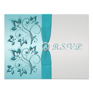 Aguamarina IMPRESA de la CINTA tarjeta de plata d Invitaciones Personalizada