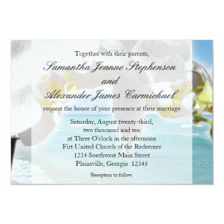 Aguamarina/invitación blanca del boda de playa de invitación 12,7 x 17,8 cm