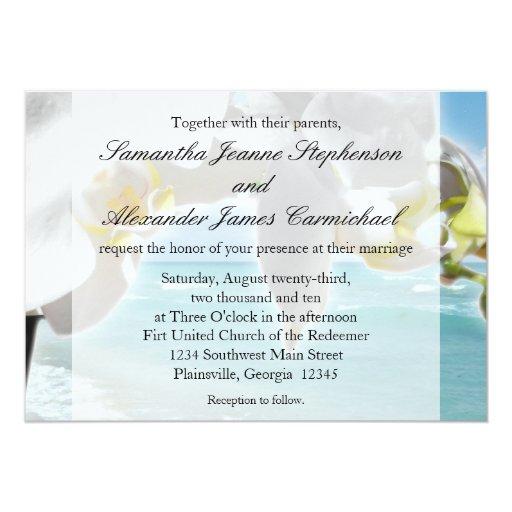 """Aguamarina/invitación blanca del boda de playa de invitación 5"""" x 7"""""""