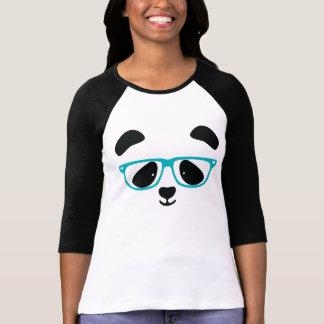 Aguamarina linda de la cara de la panda camisas