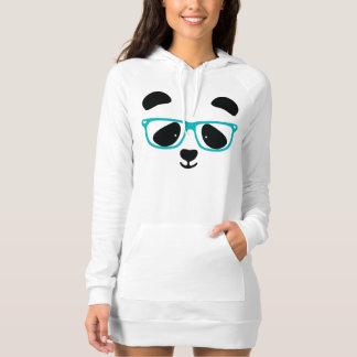 Aguamarina linda de la cara de la panda playera vestido