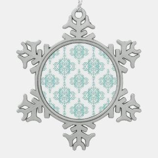 Aguamarina linda y modelo blanco del damasco del v adornos