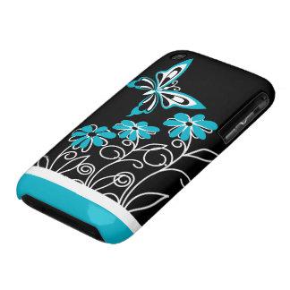 Aguamarina llamativa mariposa y flores azules iPhone 3 cárcasa