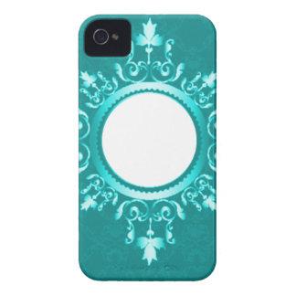 Aguamarina marco azul de la voluta de la verde iPhone 4 protector