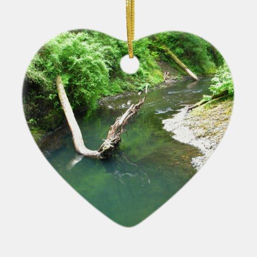 Aguamarina marina adorno navideño de cerámica en forma de corazón