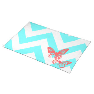 Aguamarina/mariposas rojas Placemats de Chrevron Manteles