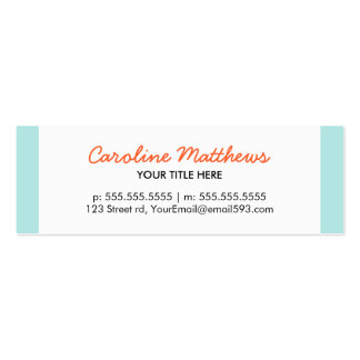 Aguamarina moderna azul y perfil personal anaranja tarjeta personal