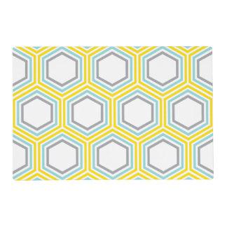 Aguamarina moderna y modelo geométrico amarillo tapete individual