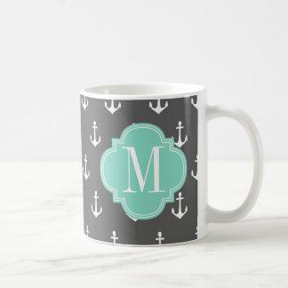 Aguamarina náutica femenina del carbón de leña de taza básica blanca