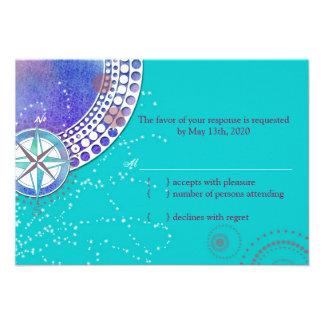 Aguamarina náutica que casa las tarjetas de RSVP ( Invitacion Personal