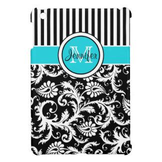 Aguamarina, negro, mini caso del iPad rayado blanc