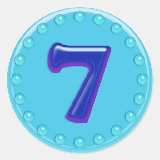 Aguamarina número 7 pegatina redonda