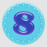 Aguamarina número 8 pegatina redonda