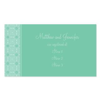Aguamarina o tarjetas del registro de regalos del tarjetas de visita