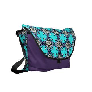Aguamarina ornamental marroquí y modelo púrpura bolsas de mensajeria