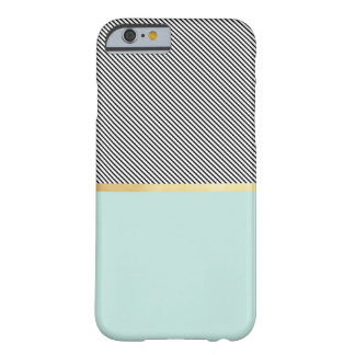 Aguamarina, oro y rayas funda barely there iPhone 6