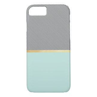 Aguamarina, oro y rayas funda iPhone 7
