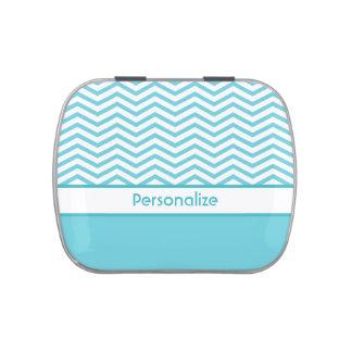 Aguamarina personalizada azul y galones blancos jarrones de caramelos