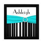 Aguamarina personalizada, negro, caja blanca de la caja de joyas
