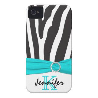 Aguamarina personalizada, negro, cebra blanca raya iPhone 4 carcasas