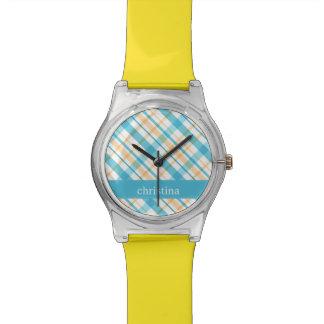Aguamarina personalizada y modelo amarillo de la t relojes