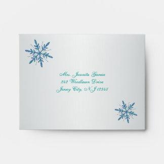 Aguamarina, plata, copo de nieve azul A2 para la Sobres