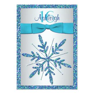 Aguamarina, plata, invitación azul del cumpleaños