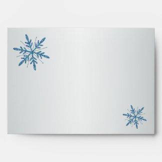 Aguamarina, plata, remite azul del copo de nieve sobres