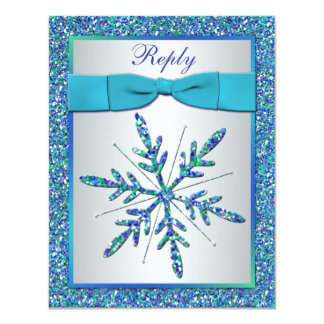 Aguamarina, plata, tarjeta azul de RSVP del copo Comunicados
