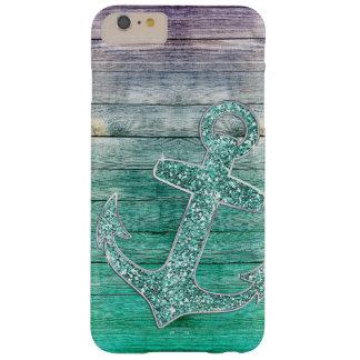 Aguamarina púrpura náutica femenina ancla y mirada funda para iPhone 6 plus barely there