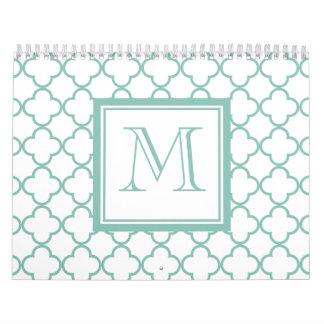 Aguamarina Quatrefoil blanco el | su monograma Calendarios