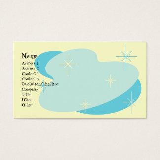 Aguamarina retra atómica azul y poner crema tarjeta de negocios