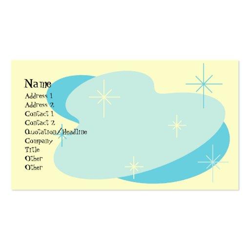 Aguamarina retra atómica azul y poner crema tarjetas de visita