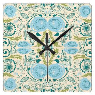 Aguamarina retra y diseño verde reloj cuadrado