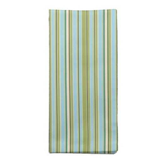 Aguamarina retra y verde rayados servilleta imprimida