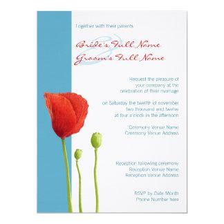 Aguamarina roja de la amapola que casa la invitación 16,5 x 22,2 cm