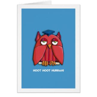 Aguamarina roja del graduado del búho usted lo hiz tarjeta