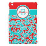 Aguamarina, rojo, mini caso del iPad floral blanco iPad Mini Carcasa