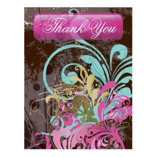 Aguamarina rosada retra linda floral tarjetas postales