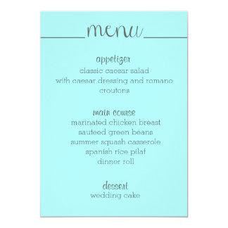 """Aguamarina simple de la tarjeta del menú de la invitación 5"""" x 7"""""""