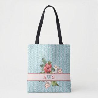 Aguamarina tropical/coral de las flores bolsa de tela